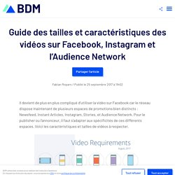 Guide des tailles et caractéristiques des vidéos sur Facebook, Instagram et l'Audience Network
