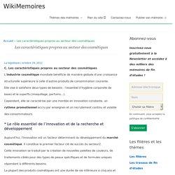 Les caractéristiques propres au secteur des cosmétiques - WikiMemoires
