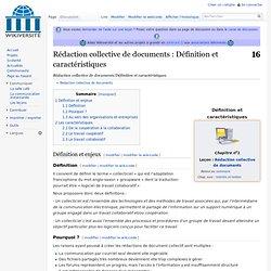 Rédaction collective de documents/Définition et caractéristiques
