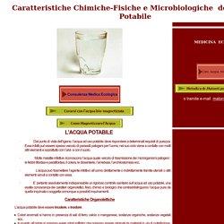 Acqua Potabile - caratteristiche chimiche
