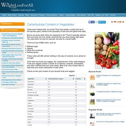Carbohydrate Content in Vegetables