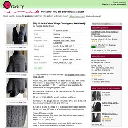 Slip Stitch Cable Wrap Cardigan (Archived) pattern by Monica Welle Brown