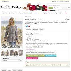 Alana cardigan, veste Drops avec torsades et raglan, tricotée de haut en bas