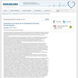 Cardiología Clínica Evaluación no Invasiva en la Cardiopatía Coronaria. Ecocardiografía
