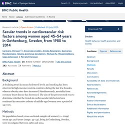 BMC PUBLIC HEALTH 01/07/20 Secular trends in cardiovascular risk factors among women aged 45–54 years in Gothenburg, Sweden, from 1980 to 2014