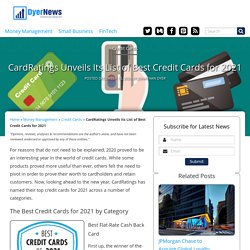 CardRatings Unveils Its List of Best Credit Cards for 2021
