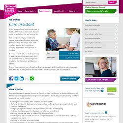 Care assistant job information