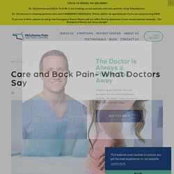 Care and Back Pain- What Doctors Say