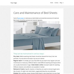 Care and Maintenance of Bed Sheets