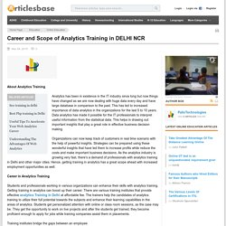 Career and Scope of Analytics Training in DELHI NCR