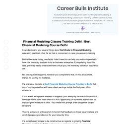 Financial Modeling Institute In Delhi