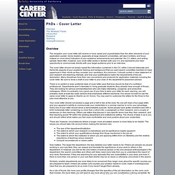 Career Center - PhDs - Cover Letter