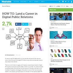 HOW TO: Land a Career in Digital PR
