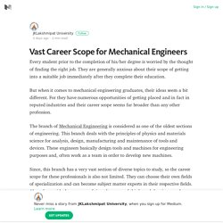 Vast Career Scope for Mechanical Engineers