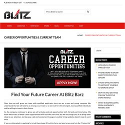 Career Opportunities and Current Team at Blitz Barz
