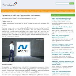 Career in ASP.NET: the Opportunities for Freshers