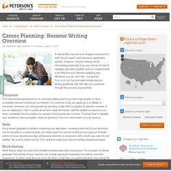 Career Planning: How to Write a Resume- Overview
