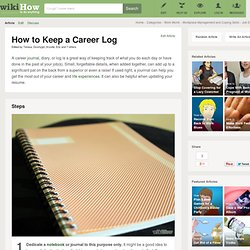 How to keep a career log