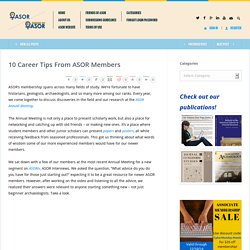 10 Career Tips From ASOR Members