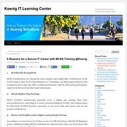 Make Great IT Career with MCSA Training @Koenig