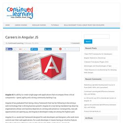Careers in Angular JS - Continued Learning