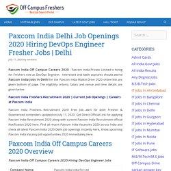 Paxcom India Off Campus Careers 2020 Hiring DevOps Engineer Freshers Jobs
