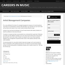 Careers in Music - Artist Management Companies
