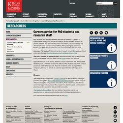 Kings Careers advice for PhD students and research staff