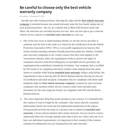 Be careful to choose only the best vehicle warranty company