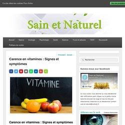 Carence en vitamines : Signes et symptômes