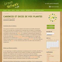 CARENCES ET EXCES DE VOS PLANTES