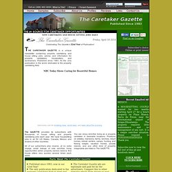 WELCOME PAGE - The Caretaker Gazette - #1 Source for Caretaker Opportunities since 1983!