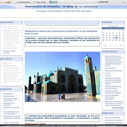 Wikipedia et laffaire des caricatures de Mahomet: ce que wikipedia évite de dire