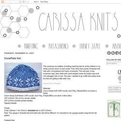 Carissa Knits: Snowflake Hat