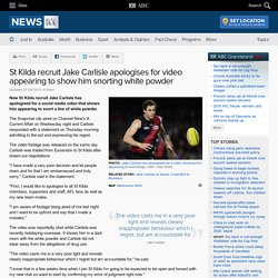 St Kilda recruit Jake Carlisle apologises for video appearing to show him snorting white powder