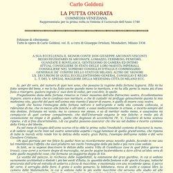Carlo Goldoni - La putta onorata 1748
