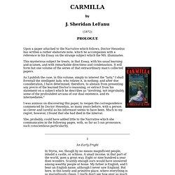 CARMILLA by J. Sheridan LeFanu