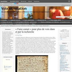 « Faire carnet » pour plus de voix dans et par la recherche