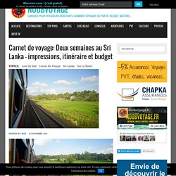 Carnet de voyage: Sri Lanka
