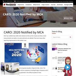 CARO 2020, New CARO Notified by MCA, MCA Notofication CARO
