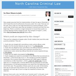 No More Minors in Jails – North Carolina Criminal LawNorth Carolina Criminal Law