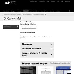 Dr Carolyn Mair - Staff Research Profiles A-Z