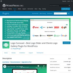 Logo Carousel – Best Logo Slider and Clients Logo Gallery Plugin for WordPress – WordPress plugin
