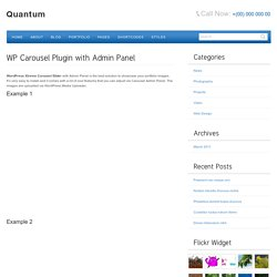 WP Carousel Plugin with Admin Panel « Quantum