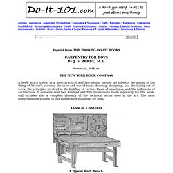 Do-It-101.com, Carpentry for Boys Table of Contents