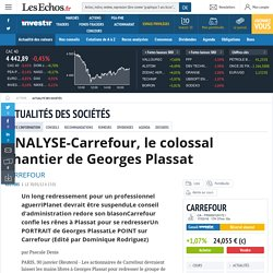 CARREFOUR FR0000120172 CA : ANALYSE-Carrefour, le colossal chantier de Georges Plassat, Infos / Conseils valeurs