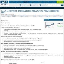 Carrefour: NOUVELLE CROISSANCE DES RÉSULTATS AU PREMIER SEMESTRE 2015