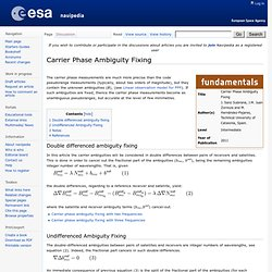 Carrier Phase Ambiguity Fixing - Navipedia