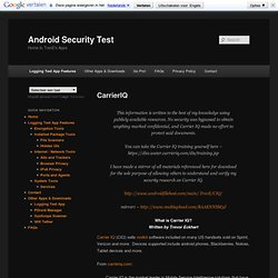 CarrierIQ | Android Security Test