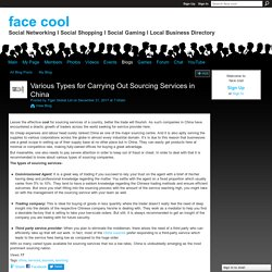 Various Types for Carrying Out Sourcing Services in China